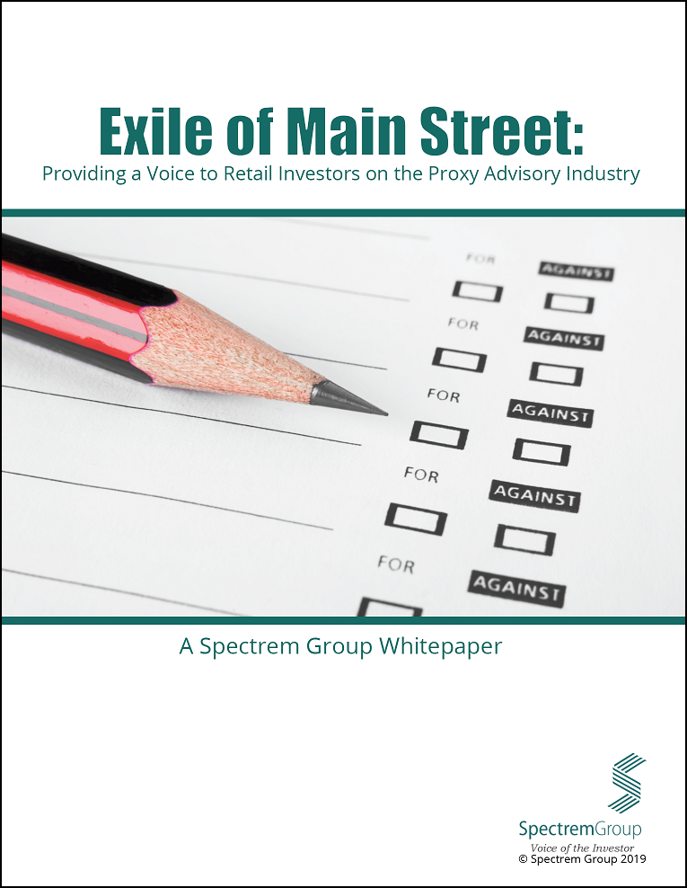 Exile of Main Street: Providing a Voice to Retail Investors on the Proxy Advisory Industry